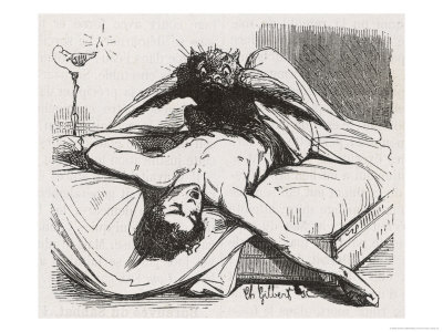 Charles-gilbert-an-incubus-in-the-form-of-a-bird-perches-upon-its-helpless-victim